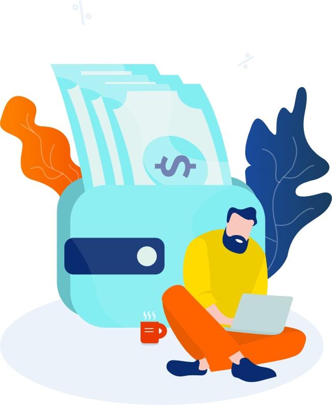 Ilustração de homem trabalhando no laptop. Junto há uma carteira com dinheiro e uma xícara de café.