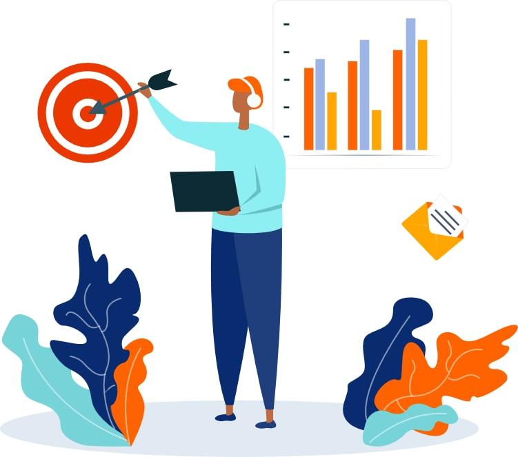 Ilustração de um marketeiro atingindo seu alvo e analisando os gráficos