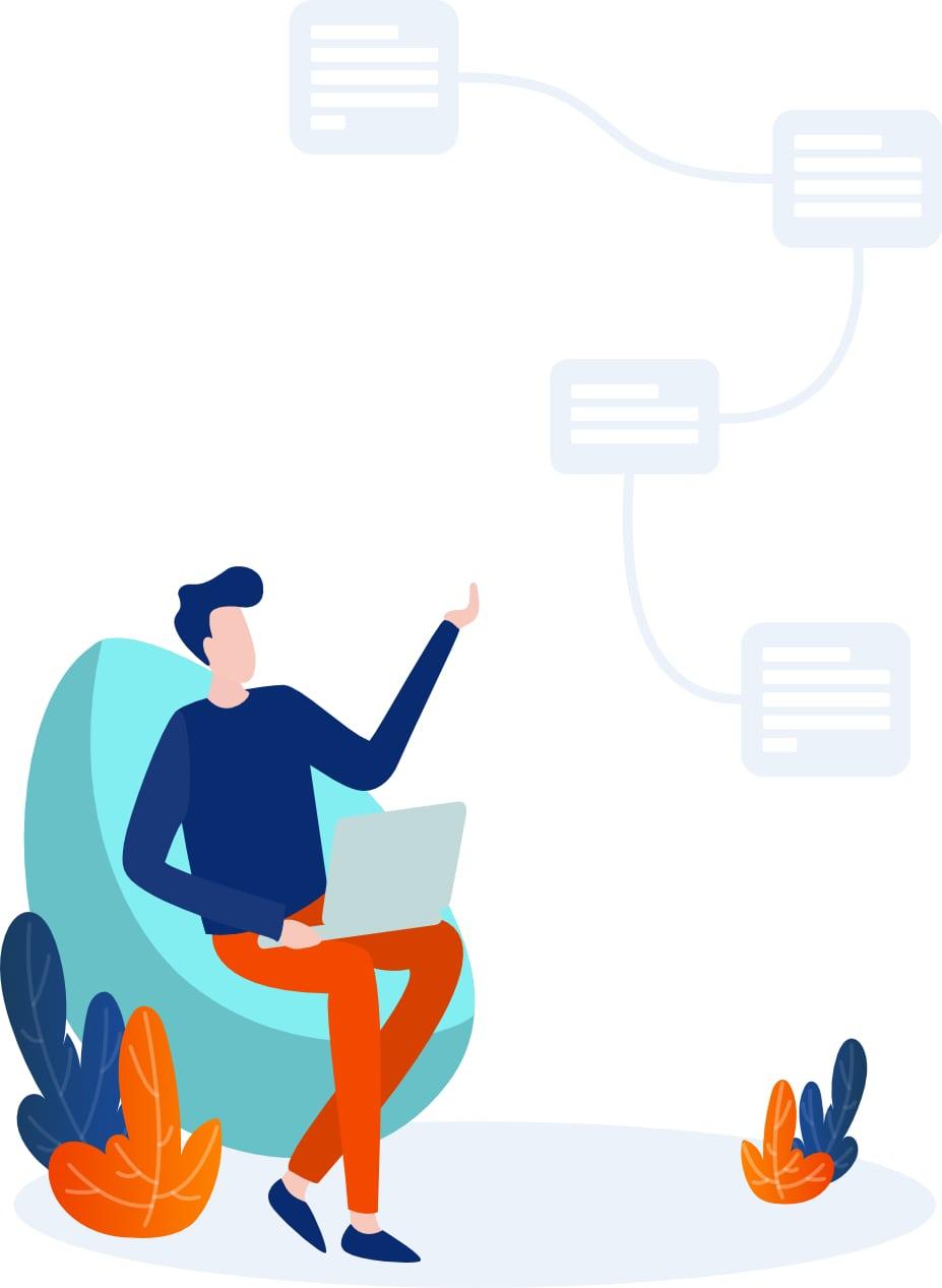 Ilustração de um homem trabalhando no laptop com um fluxo de trabalho.